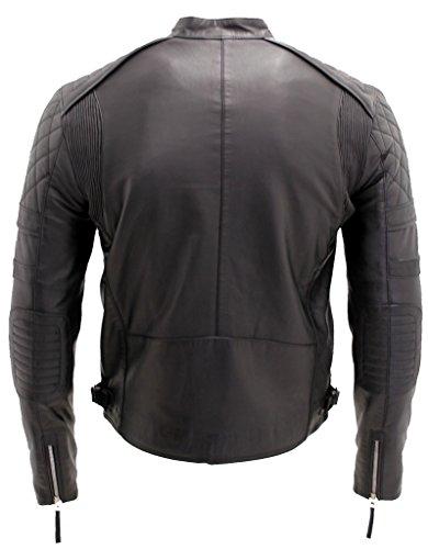 Hommes élégants Svelte matelassé Veste motard en cuir noir