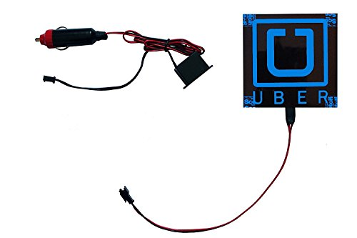 UBER Illuminated Professional Driver Sign | Velcro Attachment | Blue Rideshare Light | 12-Volt car plugin | Light Up Sign | Glow Sign | 4in x 4in |