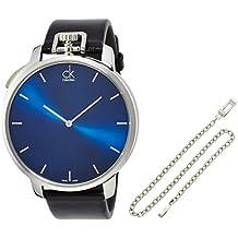 Calvin Klein Exceptional Blue Dial Black Leather Mens Watch K3Z211CN