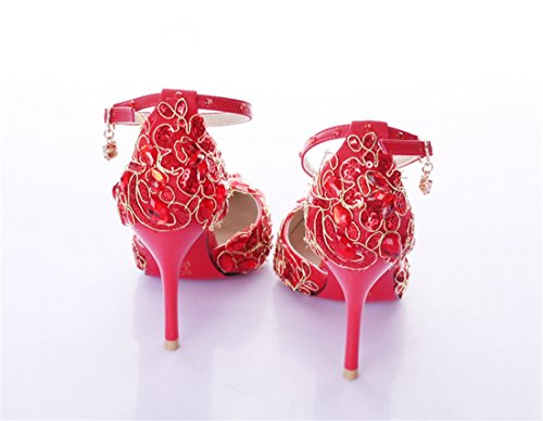 Miyoopark , Bride de cheville femme - Rouge - Red-10cm Heel, 35