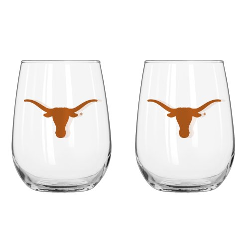 NCAA Texas Longhorns Curved Beverage Glass, 16-ounce, 2-Pack