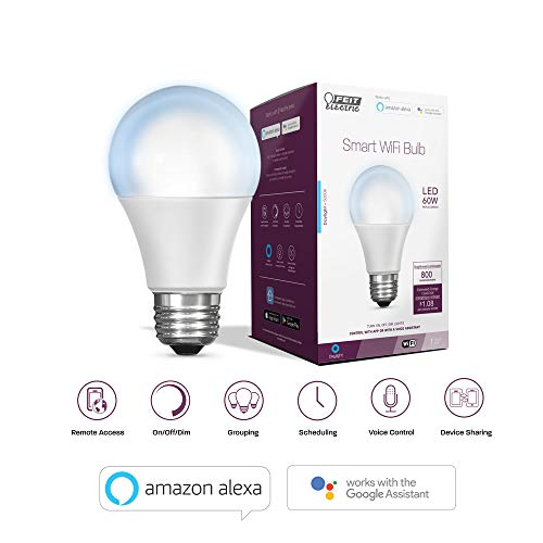 """Feit Electric OM60/950CA/AG 60W Equivalent WiFi Dimmable, No Hub Required, Alexa Google Assistant A19 Smart LED Light bulb, 4.4"""" H x 2.3"""" D, 5000K Daylight"""