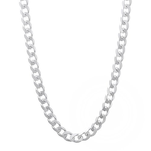 NYC Sterling Men's 5mm Solid Sterling Silver .925 Curb Link Chain Necklace, Made in Italy (24) ()