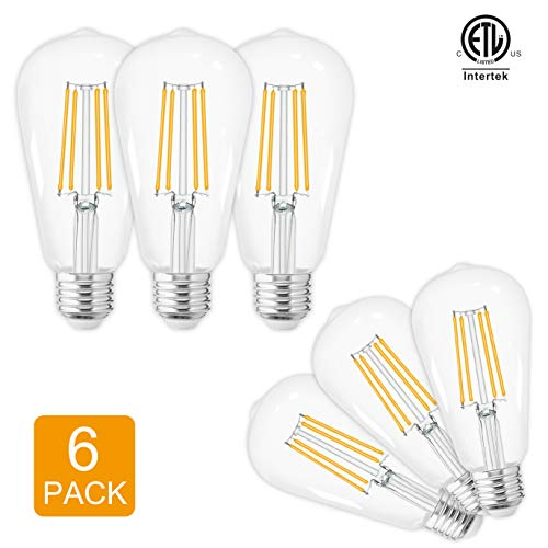 LED Edison Bulbs Vintage,Warm White 2700K,60 Watt Equivalent,ST58 Chandelier Fan Filament Light Bulb,E26 Base,800 Lumen,Non Dimmable,Pack of 6