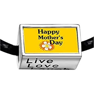 Chicforest Silver Plated Happy Mother's Day Photo Live Love Laugh Charm Beads Fits Pandora Charm