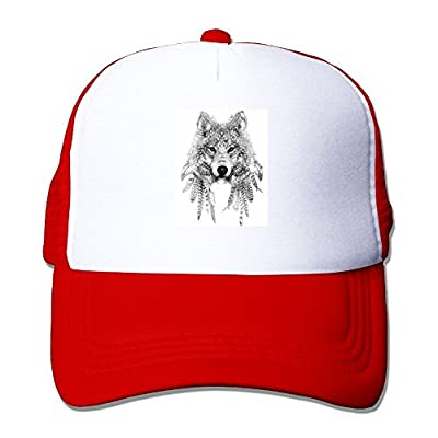 King Wolf Adjustable Baseball Cap Snap Back Outdoor Custom Mesh Trucker Hat by Swesa