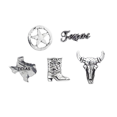 Lux Accessories Silver Tone Plated Cowboy Themed Pins and Brooches Set of 5