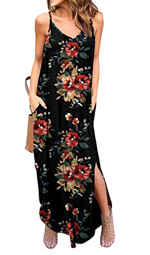 GRECERELLE Women's Summer Casual Loose Dress Spaghetti Strap Beach Cover Up Long Cami Floral Print Casual Maxi Dresses with Pocket FP Brown Black-S (Maxi Dress Black Casual)