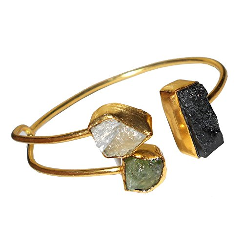 Bhagat Jewels Natural Black Tourmaline, Moonstone and Peridot Gemstone Chunky Cuff Bracelet for Women