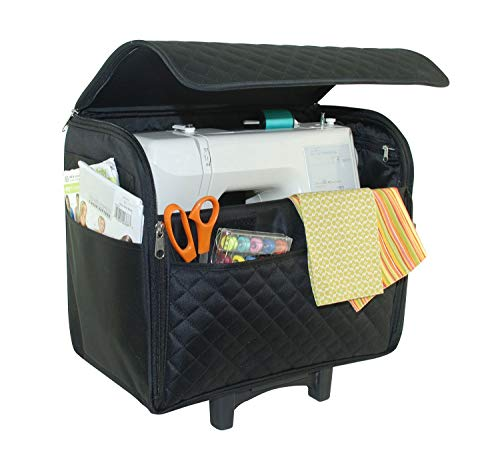 Everything Mary Black Quilted Rolling Sewing Machine Tote - Sewing Machine Case Fits Most Standard Brother & Singer Sewing Machines, Sewing Bag with Wheels & Telescoping Handle - Portable Sewing Case (Sewing Machine Tote Small)
