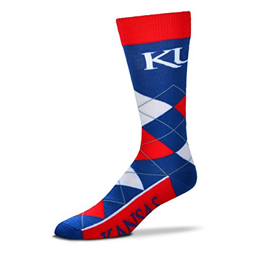 For Bare Feet NCAA Argyle Lineup Unisex Crew Dress Socks-One Size Fits Most-Kansas Jayhawks
