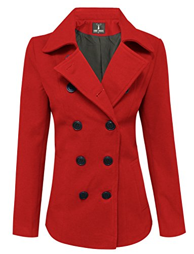 Tom's Ware Womens Trendy Double Breasted Wool Pea Coat TWCWC06-RED-L