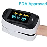 Asobilor Finger Pulse Oximeter 2018 Newest Portable Digital Blood Oxygen FDA Approved and Alarming SPO2 Pulse Sensor Meter with OLED for Adults and Children (White)
