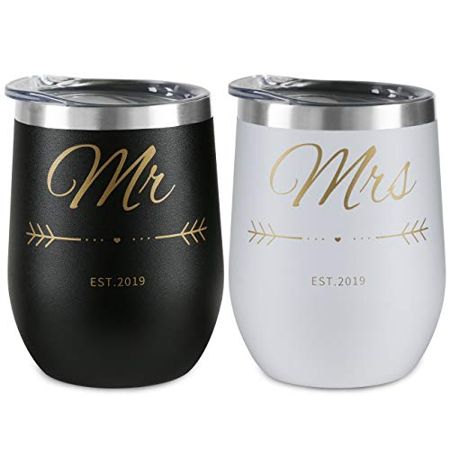 Mr Couple model Gifts – 2 packs Wine Glass 12 oz Stainless Steel Stemless Wine Tumbler with Lid – Perfect Birthday Gift for Mr