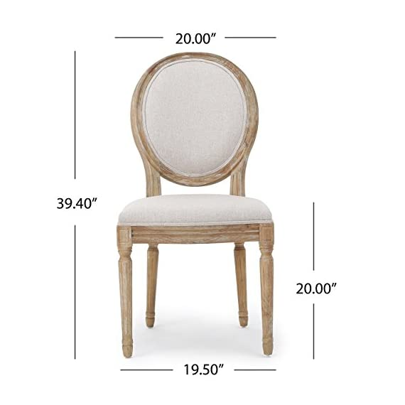 Christopher Knight Home 300258 Phinnaeus Fabric Dining Chairs, 2-Pcs Set, Beige - This traditional dining chair is perfect for any dining room. Featuring distressed wood with soft edges along the chair, it is sure to Complement any Classic Décor. The extra plus seating also provides maximum comfort while dining, giving your dinner parties an instant win. Includes: two (2) dining chairs Material: fabric (100% polyester), rubberwood   color: Beige, natural Finish - kitchen-dining-room-furniture, kitchen-dining-room, kitchen-dining-room-chairs - 41Ji5jmRxZL. SS570  -