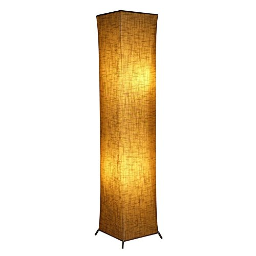 Modern Asian Design 52 Floor Lamp Lanterns with Fabric Lampshade 2 Bulbs for Bedroom Living room Warm Atmosphere General Size Linen Fabric 10 x 10 x 52 inch