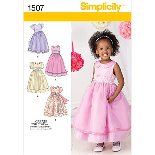 Simplicity 1507 Toddler Girl's Formal Dress Sewing Pattern, Sizes 4-8