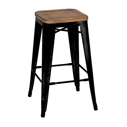 Metropolis Backless Counter Stool 26 Wood Seat,Indoor Outdoor Ready,Black,Set of 4
