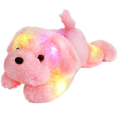 Bstaofy WEWILL Creative Night Light LED Stuffed Animals Lovely Dog Glow Plush Toys Gifts for Kids 18-Inch (Pink) (Images Of Cutest Puppies In The World)