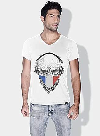 Creo France Skull T-Shirts For Men - L, White