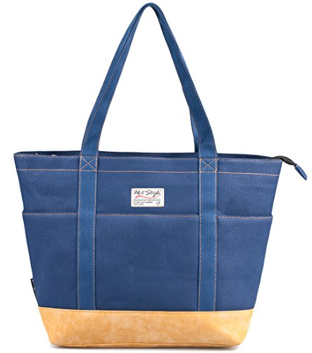 HotStyle AMY Womens Canvas Top Zip Tote Bag Laptop Handbag -