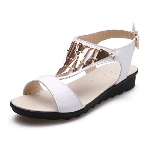 ZPPZZP Ms sandali pantofole flat-bed piana e selvaggio indossando un bianco 39EU