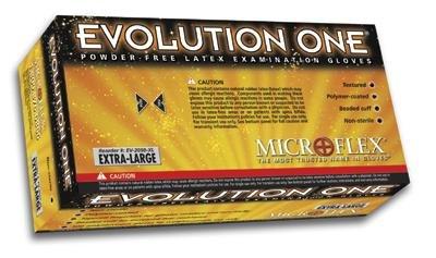 Microflex Medical EV-2050-L Large Natural 10'' Evolution One 5.5 mil Latex Ambidextrous Non-Sterile Medical Grade Powder-Free Disposable Gloves, English, 15.34 fl. oz., Plastic, 1