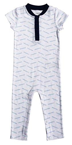 Calvin Klein Baby Boys Short Sleeve Shortall, Ck Blue Chevron, 18-24 Months by Calvin Klein