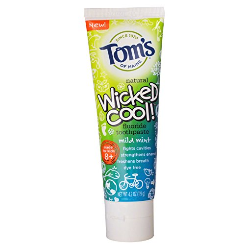 Tom's of Maine, Wicked Cool! Fluoride Toothpaste, Mild Mint, 4.2 oz (119 g) - 2pc ()