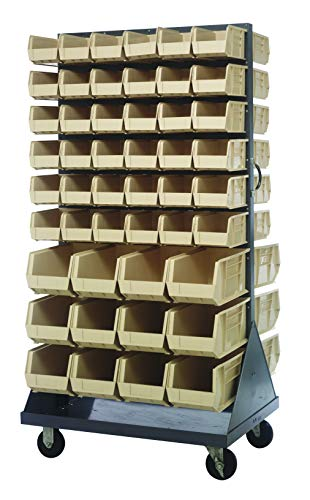 (Quantum Storage QMD-36H-230240IV Mobile Double Sided Gray Louvered Rack System with Bins, 36