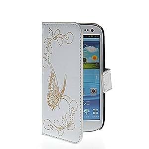 HYFCASE® mariposa Carcasa Funda Caso Cuero Tapa Cartera Case Cover para Samsung Galaxy S3 I9300 Blanco