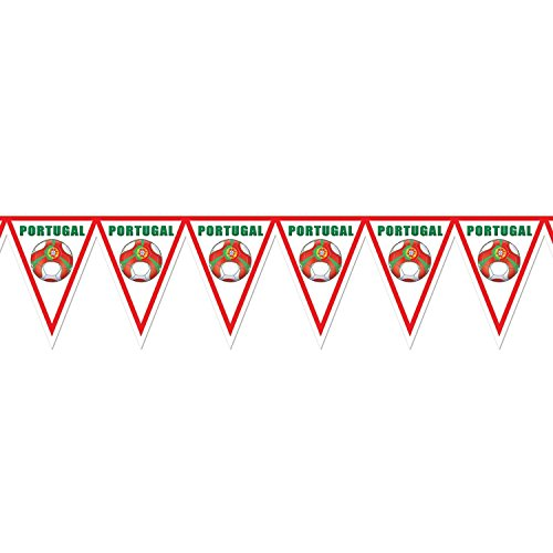 Pack of 6 Red, Green and White ''Portugal'' Soccer Themed Pennant Banner Party Decorations 7.4' by Party Central