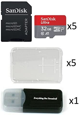 5 Pack - SanDisk Ultra 32GB Micro SD SDHC Memory Flash Card UHS-I Class 10 SDSQUAR-032G-GN6MA Wholesale Lot with 5 Plastic Jewel Cases and Everything ...