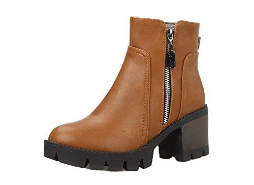 AgeeMi Shoes Damen Spitz Schließen Zehe Mittler Absatz Reißverschluss Stiefel EuX99 Braun