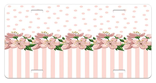 - Lunarable Dusty Rose License Plate, Vintage Retro Design with Polka Dots and Stripes Spring Flora Border, High Gloss Aluminum Novelty Plate, 5.88 L X 11.88 W Inches, Baby Pink Fern Green