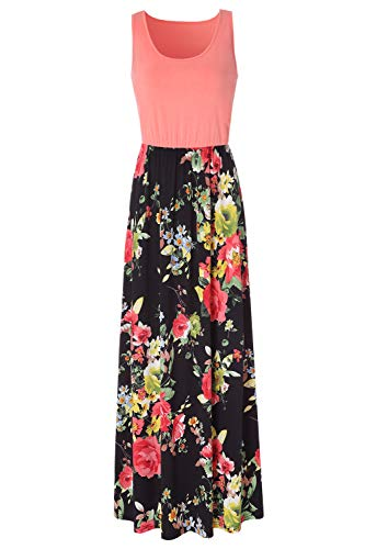 Zattcas Womens Summer Contrast Sleeveless Tank Top Floral Print Maxi Dress,Light Orange Black,Medium ()