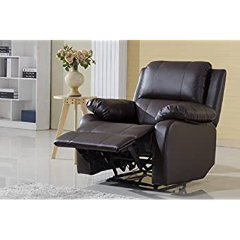 Classic Bonded Leather Oversize Recliner Chair (Brown)