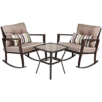 Tangkula 3 Pcs Chat Set Patio Outdoor Rocking Chairs With Coffee Table Set Coffee