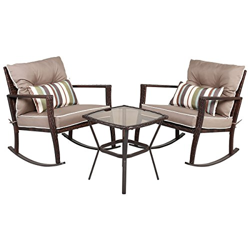 Tangkula 3 PCS Chat Set Patio Outdoor Rocking Chairs with Coffee Table Set (Coffee) - Patio Furniture Rocking Chairs