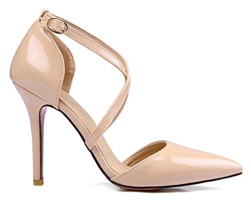 CSDM DONNE grandi stilo a forma di tacco puntato piede scarpe da sposa scarpe da sposa alto tacchi Sandalss giallo bianco rosa nudo nero , nude , 36
