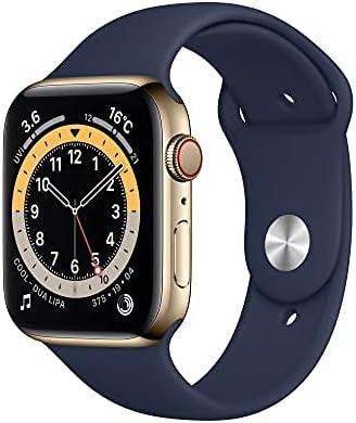 Apple Watch Series 6(GPS + Cellularモデル)- 44mmゴールドステンレススチールケースとディープネイビースポーツバンド