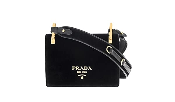 0051b16947c9 Prada Women s Pattina Velvet Strap Shoulder Bag Black  Amazon.ca  Clothing    Accessories