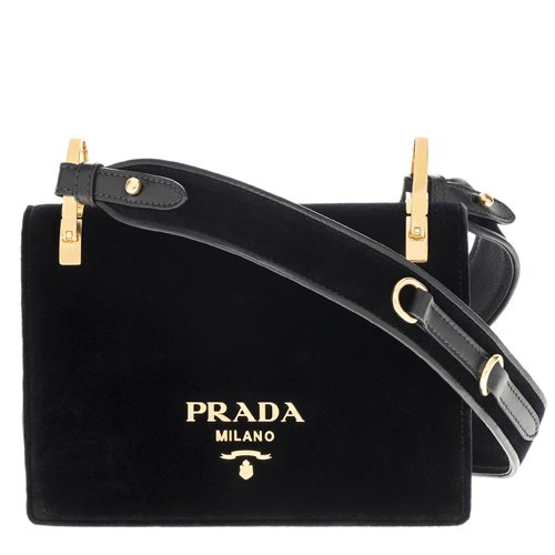 Prada Women's Pattina Velvet Strap Shoulder Bag Black
