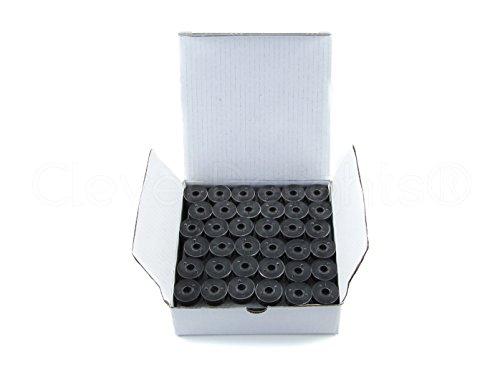144 Pack - CleverDelights Black Prewound Bobbins - 60wt - Size L Bobbins - SA155 Replacement - 3/8