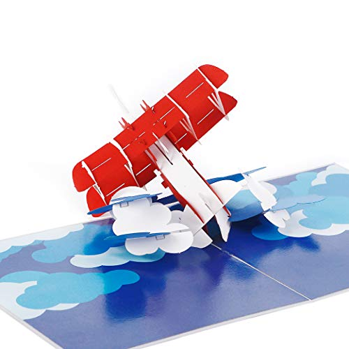 Liif Airplane 3D Fathers Day Pop Up Card For All Occasions, 3D Bi-plane Card, Happy Birthday Card For Kids, Boyfriend, Son, Congratulations Card, Unique Gifts For Pilot, Plane Traveler, Aviation Gifts ()