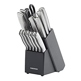 Farberware 5152497 Stamped 15-Piece High-Carbon Stainless Steel Knife Block Set, Steak Knives 1 <p>Farberware is the #1 selling cutlery brand in the U.S. (Source: The NPD Group, Inc./Retail Tracking Service. 52 weeks ending March 2016). This 15-piece set includes an 8-inch chef knife, 8-inch bread knife, 8-inch slicer, 7-inch Santoku, 5-1/2-inch serrated utility knife, 3-1/2-inch paring knife, a pair of shears, a sharpening steel and six 4-1/2-inch long steak knives. All knives feature high-carbon stainless steel blades which ensure the blades retain their ultra-sharp edge longer than conventional stainless steel. Each knife features an ergonomic brushed steel handle for greater durability. Not dishwasher safe. Hand wash with warm water and a mild detergent; rinse and dry immediately. 15 PIECE KNIFE BLOCK SET: This set includes an 8 inch chef's knife, 8 inch bread knife, 8 inch slicer knife, 7 inch Santoku, 5.5 inch serrated utility knife, 3.5 inch paring knife ALSO INCLUDES: This set also includes (6) 4.5 inch steak knives, a pair of all purpose kitchen scissors, a sharpening rod, and a black wood storage block HIGH QUALITY BLADE: Each blade is expertly crafted from superior quality, high carbon stainless steel which ensure the blades retain their ultra sharp edge longer than conventional stainless steel and provide precision results COMFORT GRIP: Featuring a satin finish, the handles are crafted from stainless steel and are ergonomically designed for a comfortable grip; each knife is perfectly balanced for precision while cutting EASY CARE: Hand wash with warm water and a mild detergent; rinse and dry immediately; lifetime limited warranty Farberware is the #1 selling cutlery brand in the U.S. (Source: The NPD Group)</p>