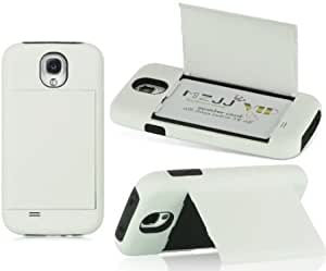 Bloutina Dream Wireless Standard Card Case for Samsung Galaxy S4 - Retail Packaging - Black Skin with White Rubber Case...