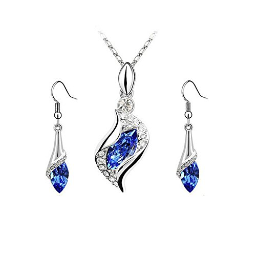 Swarovski Austrian Necklace Crystal (Navy Blue Rhinestone Swarovski Element Austrian Crystal Teardrop Pendant Necklace Earring Sets for Women)