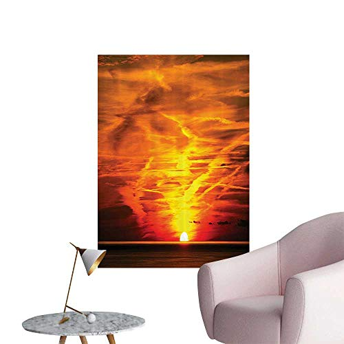 Wall Decals SunOver The Sea Golden Horiz Sailing Outdoors Dusk Nature Mediterra Environmental Protection Vinyl,32