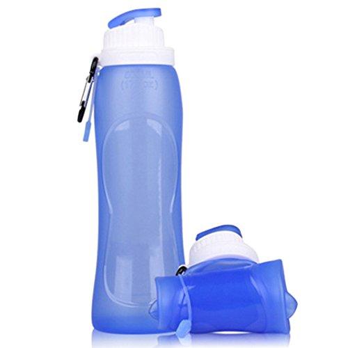 ZXK 500ml Folding Silikon Wasser Flasche Sportflasche Trinkflasche mit ungiftig und kein Geruch Geeignet für Outdoor-Camping Wandern Picnics Wandern Joggers Reiten Lauf - Blau